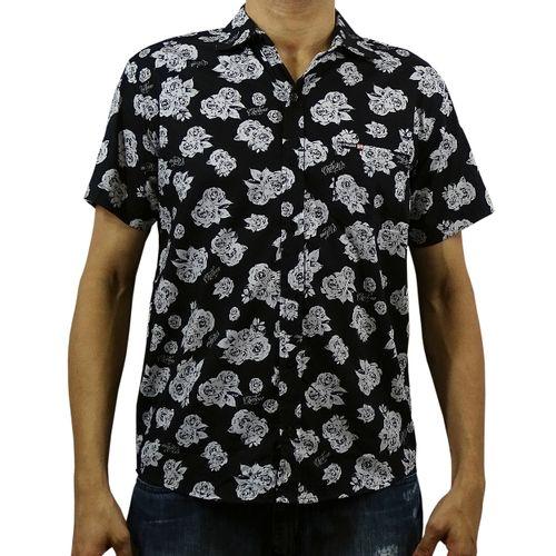 Camisa Tecido Dark Flowers