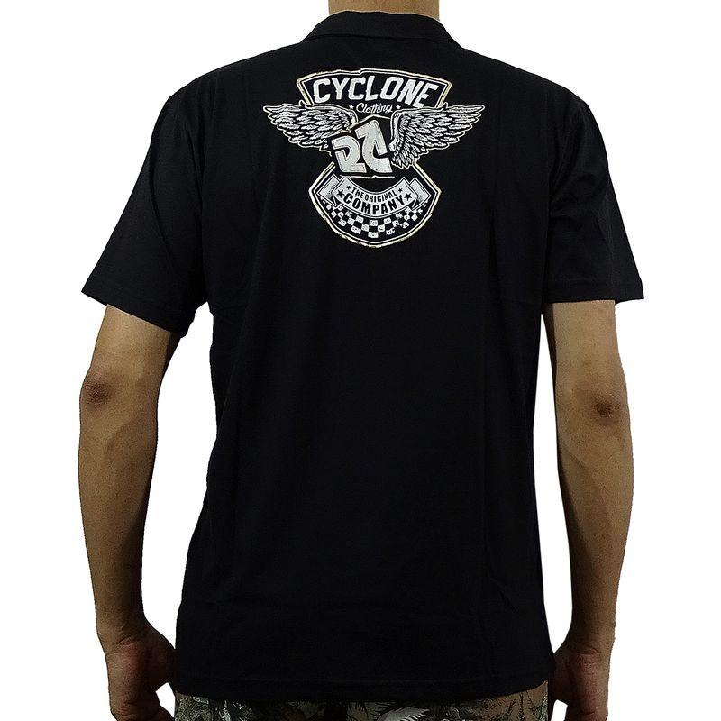 Costas Camisa Pólo Wings Metal Preta