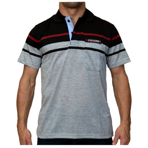 Camisa Pólo Listra Maldivas Cinza Claro