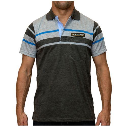 Camisa Pólo Listra Maldivas Cinza Escuro