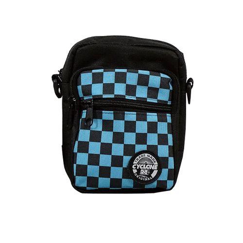 Bolsa Shoulder Estampada Xadrez Azul