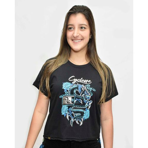 Baby Look Dragon Metal Preto