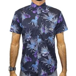 Camisa Tecido Floral Preto