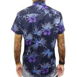 Costas Camisa Tecido Floral Preto