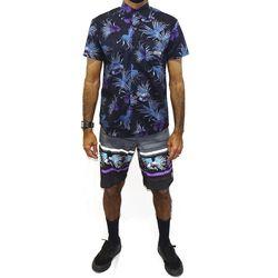 Look Camisa Tecido Floral Preto