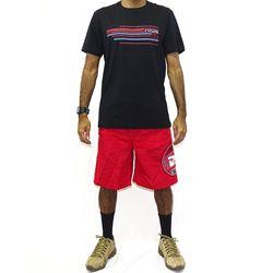 Look Bermuda Veludo Asteca Vermelho