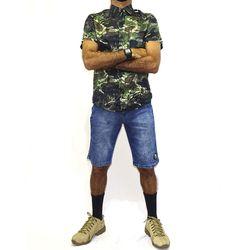 Look Camisa Tecido Camuflado Preto