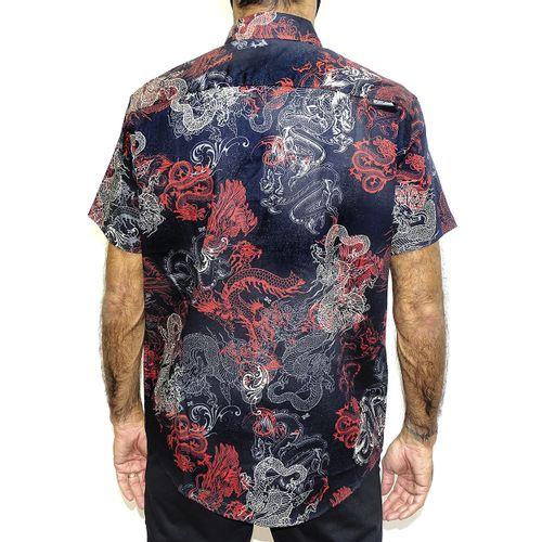 Costas Camisa Tecido Dragon Preto