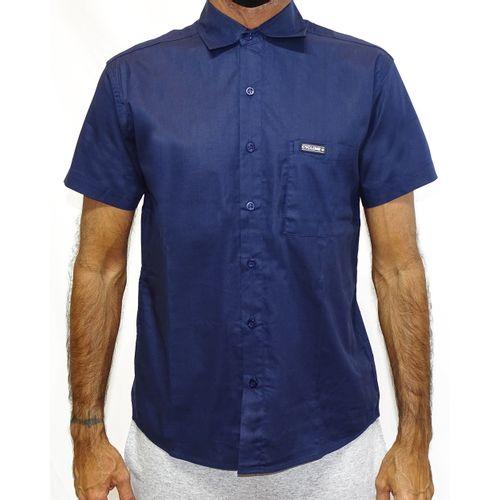 Camisa Tecido 3D Metal Azul