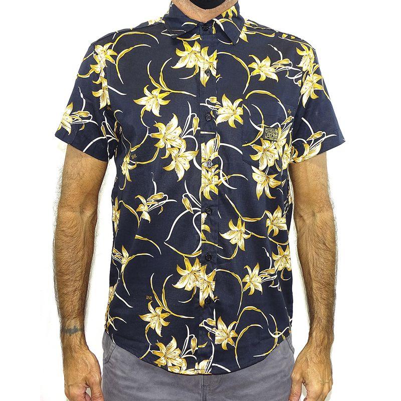 Camisa Tecido Golden Flower New  Preto
