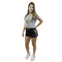 Look Short Veludo Camuflado