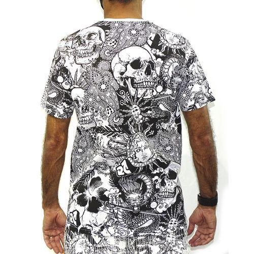 Costas Camisa Skull Art Branco