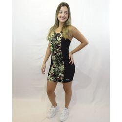 Look Vestido Veludo Camuflado Preto