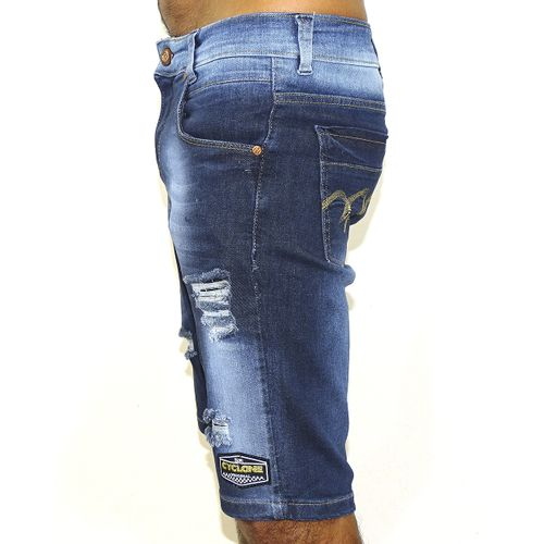 Lateral Bermuda Jeans Stretch Metal
