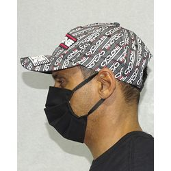 Bone-Microfibra-Fashion-Preto-Vermelho-Lateral