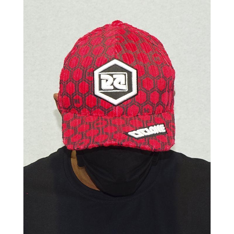 Bone-Veludo-Hexagon-Vermelho