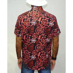 Costas-Camisa-Tecido-Floral-Gothic-Preto-Vermelho