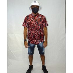 Look-Camisa-Tecido-Floral-Gothic-Preto-Vermelho